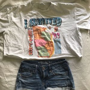 Vintage graphic cropped tee XL
